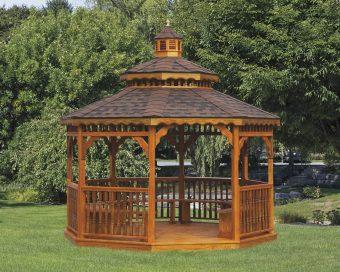 pine gazebo with pagoda