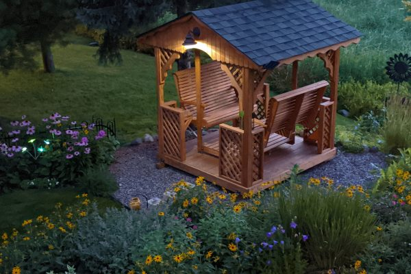 beautiful backyard double glider swing 3