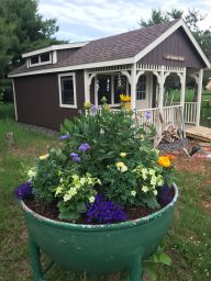 cabin shed with flowers