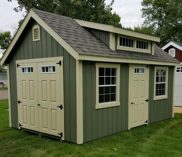 classic shed style used as a she shed in minnesota