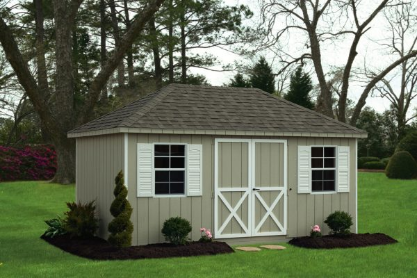 villa 10x16 outdoor shed with double doors custom built by shed company in hayward wisconsin