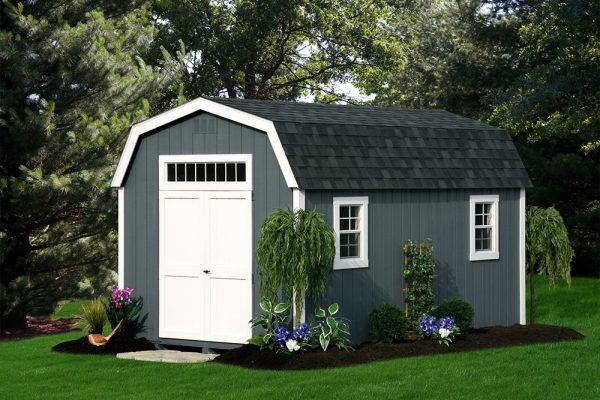gray dutch style wood storage barn in central minnesota