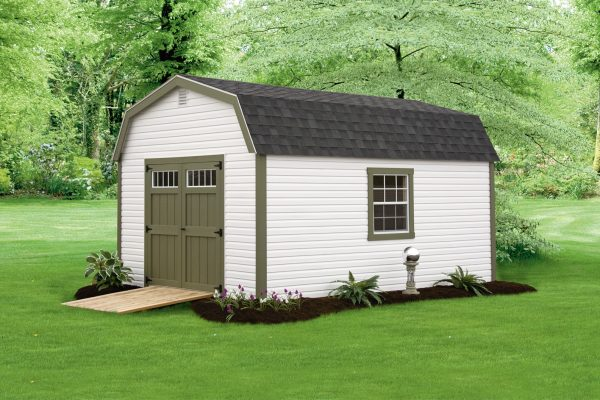 vinyl 12x16 storage barn with ramp lake superior north shore