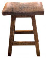 rustic padded saddle stool