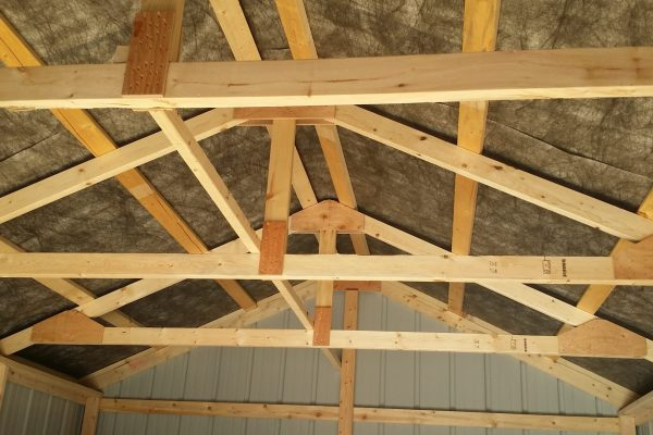 interior of steel garage quality trusses for snowload northwood industries