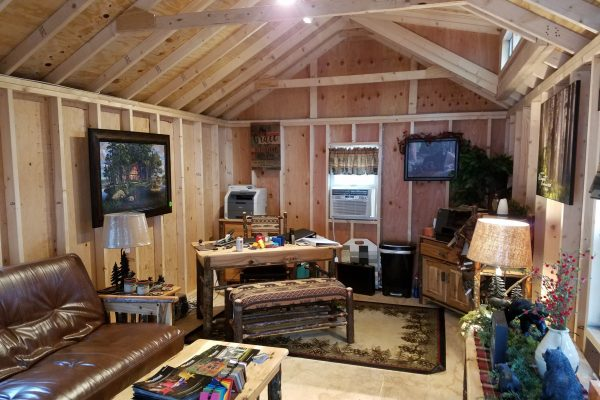 interior of cape cod shed cabin by northwood industries