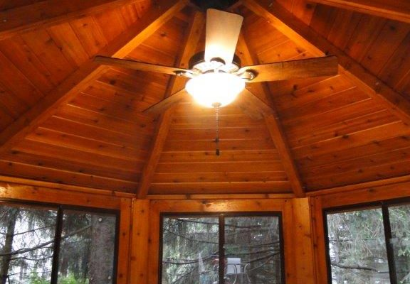 northwood industries royal cedar gazebo interior with ceiling fan