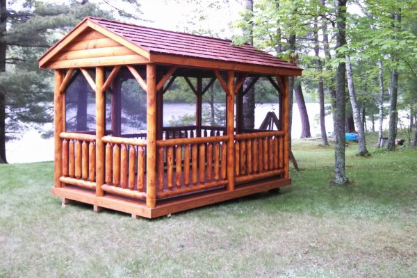 log pavilion for vacation property in minnesota