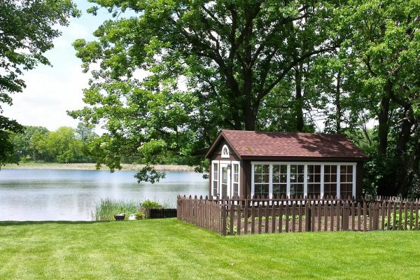 sunroom shed on lakefront property