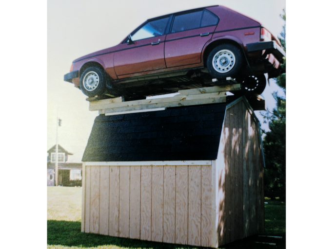 shed company testing snow load capacity in 1993