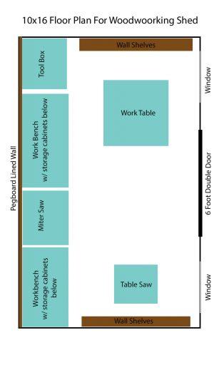 10x16 workshop shed floor plan