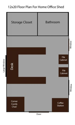 12x20 office shed floor plan