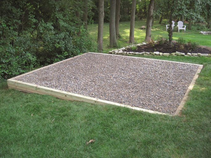 gravel pad for storage shed delivery and installation