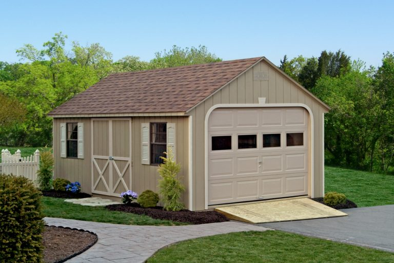 beautiful shed garage with a ramp