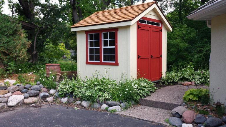 beautifully landscaped storage shed