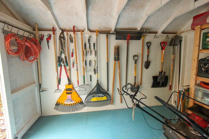 peg board rack shed full tools