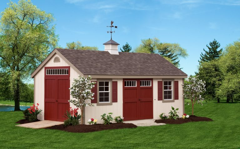 storage shed with weathervane