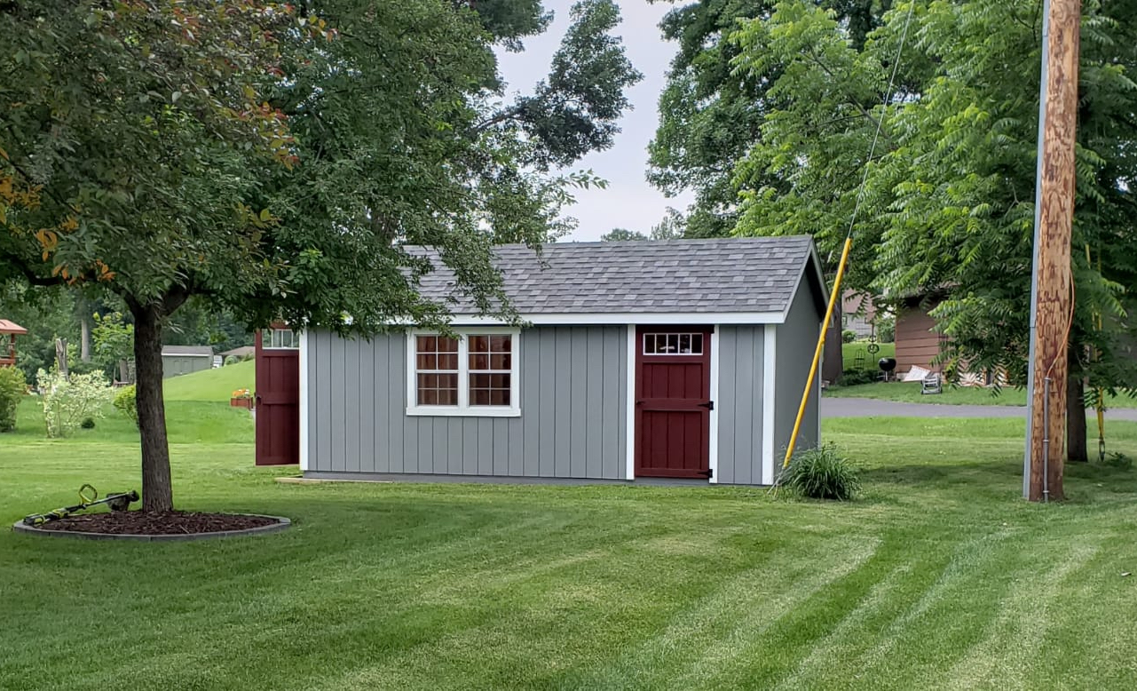 delivered storage shed on gravel pad