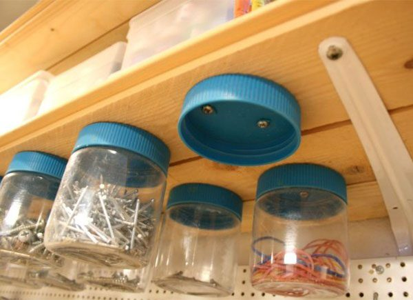 using cans to organize sheds 1