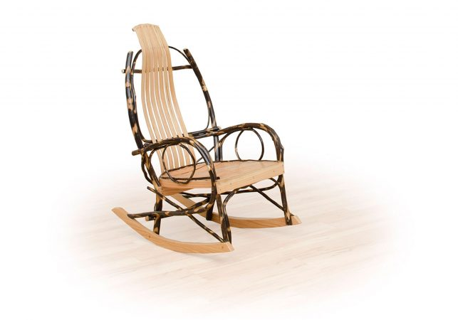 52 rustic hickory twig arm rocking chair