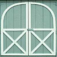 shed door wood arched trim 0