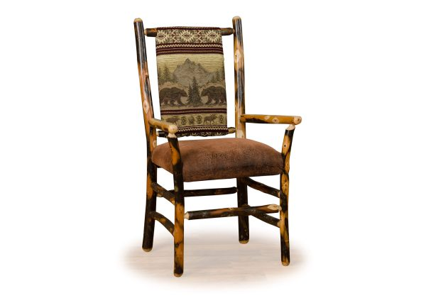 02 hickory low back chair with arms