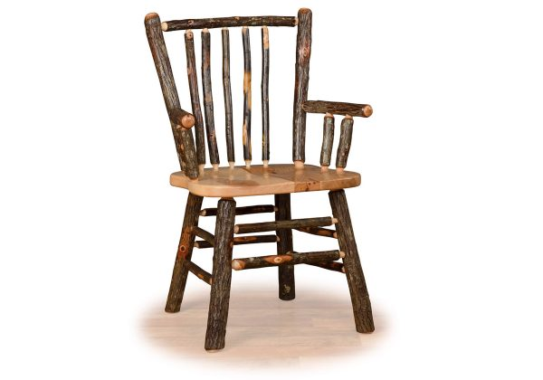 08 hickory stick back chair with arms