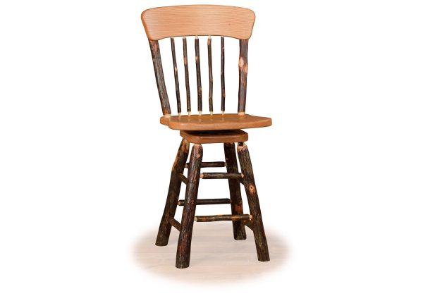 11 hickory panel back swivel bar stool no arms