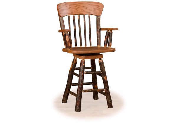 12 hickory panel back swivel bar stool with arms