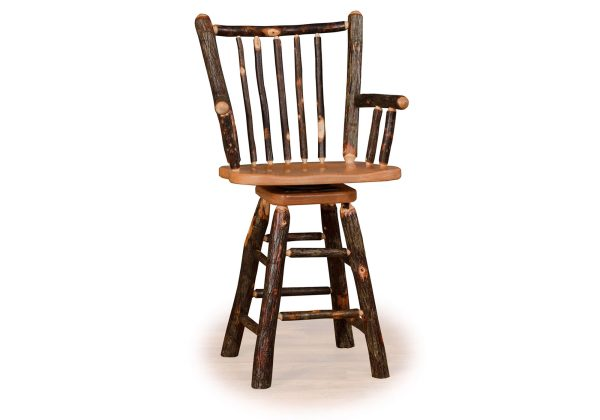 14 hickory stick back swivel barstool with arms