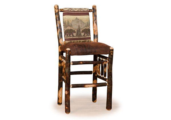 19 hickory straight back barstool fixed seat