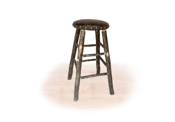 21 hickory padded stool with fixed seat