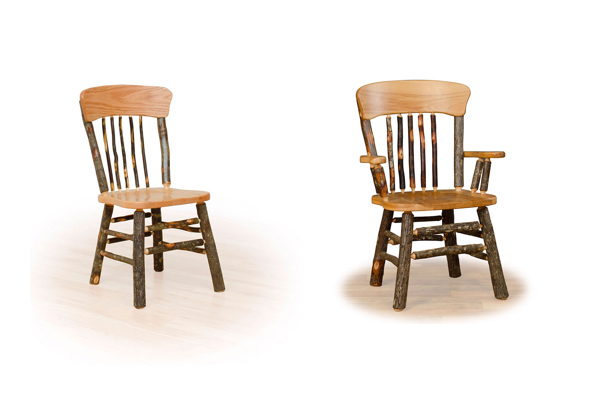 4 hickory panel back chairs primary