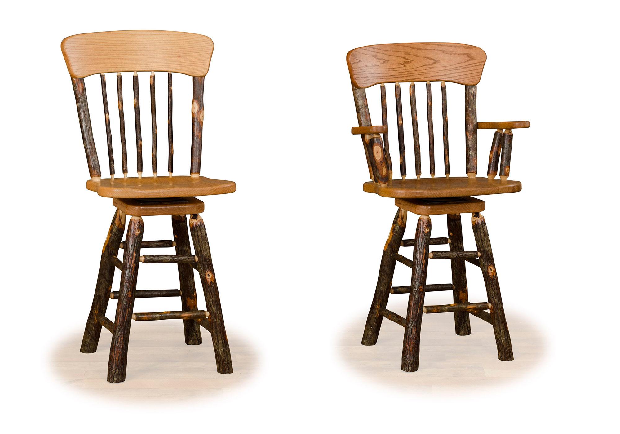 7 hickory panel back swivel bar stools