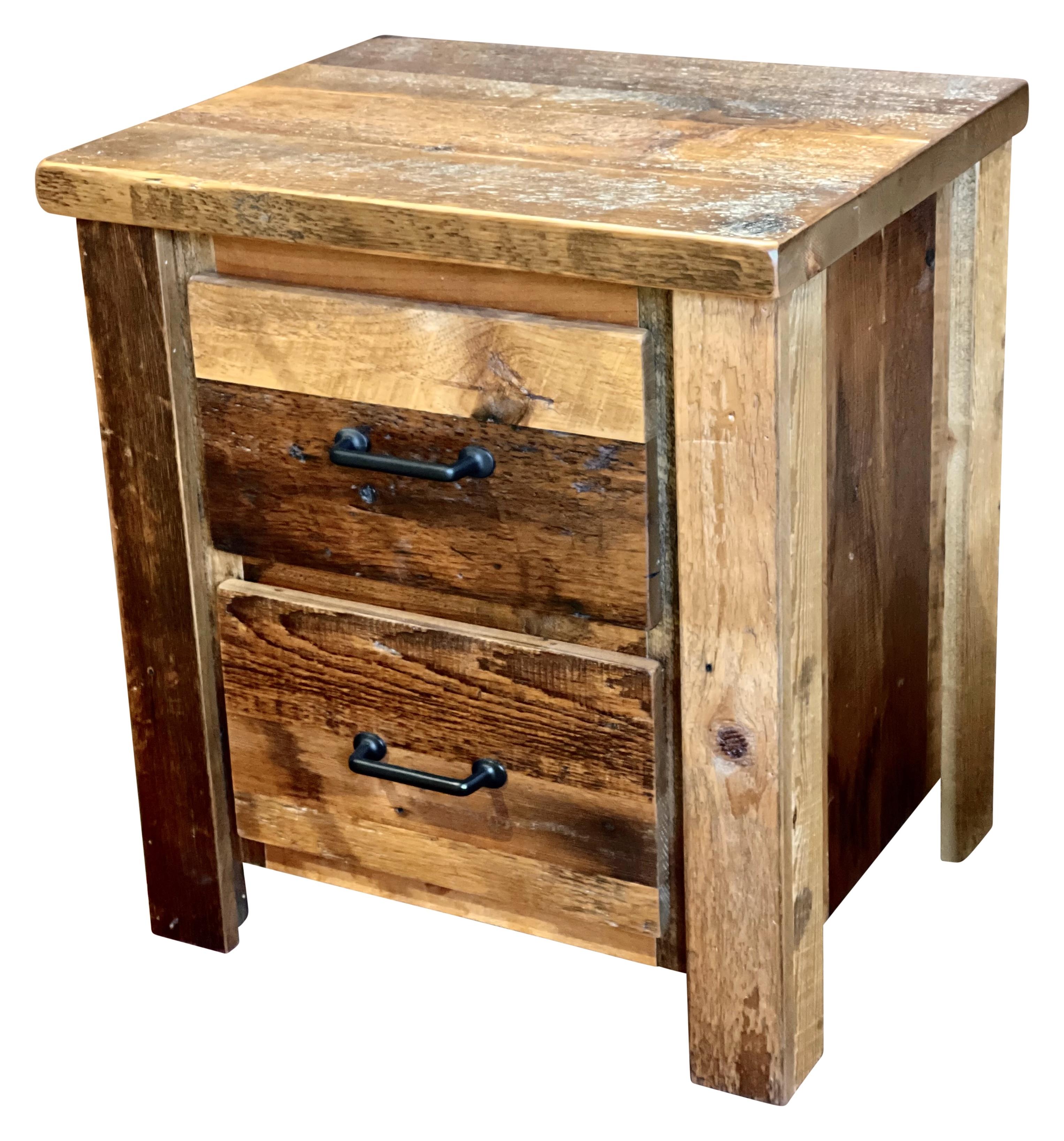 barnwood 2 drawer night stand