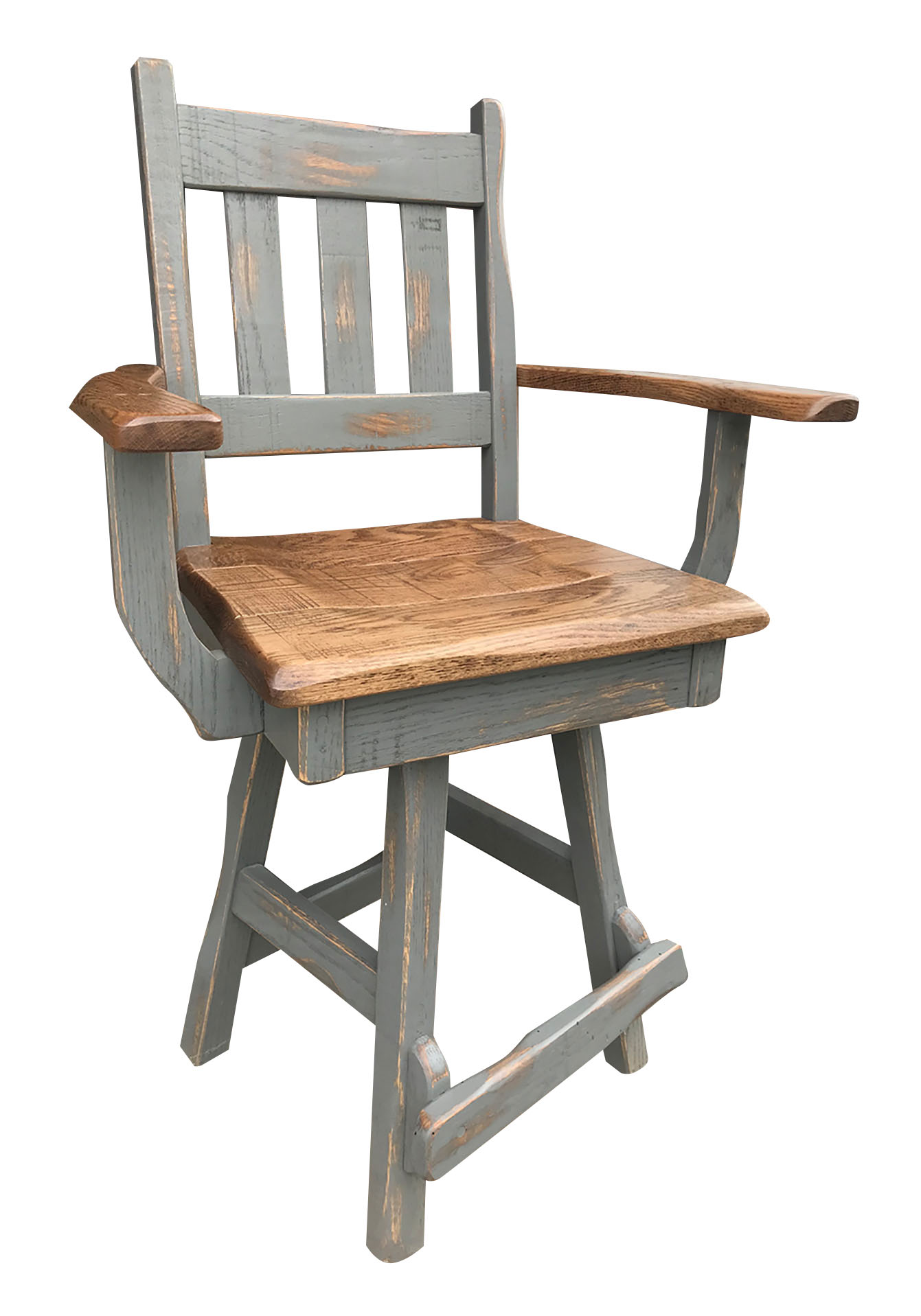 rustic swivel bar stool with arms