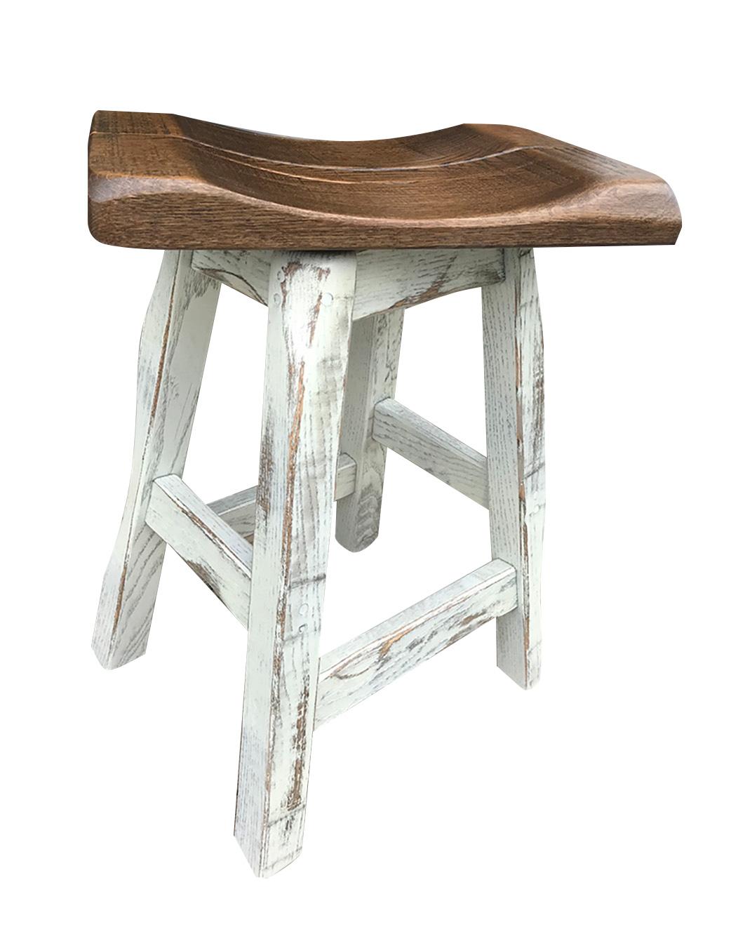 rustic swivel saddle stool 1
